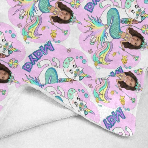 Pink Mermaid Unicorn Princess Kids Blanket Personalized with photo and name