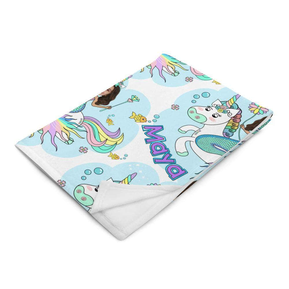 Unicorn Mermaid Princess Blanket - Personalized with photo and name blanket My Custom Kids Books
