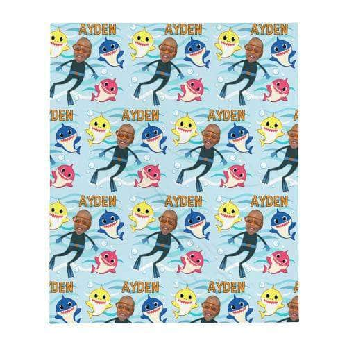 Baby Shark Blanket - Personalized with photo and name blanket My Custom Kids Books