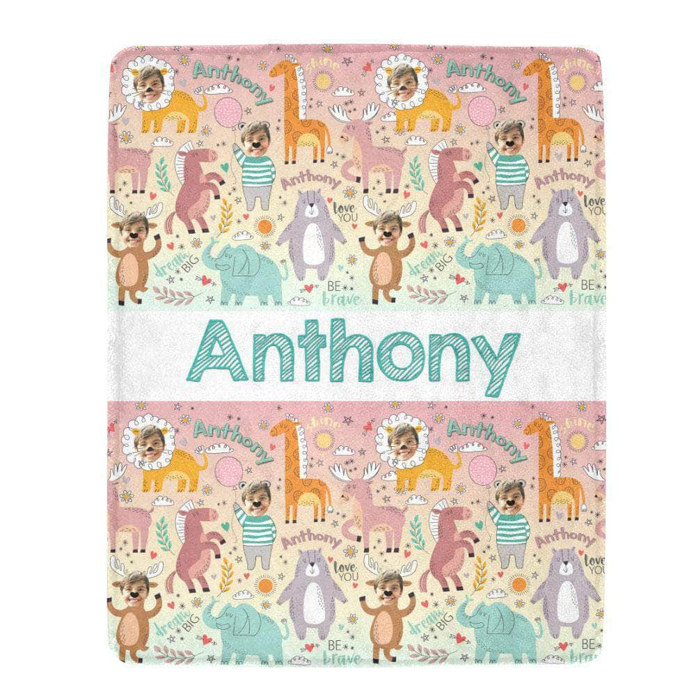 personalized blanket for kids animals