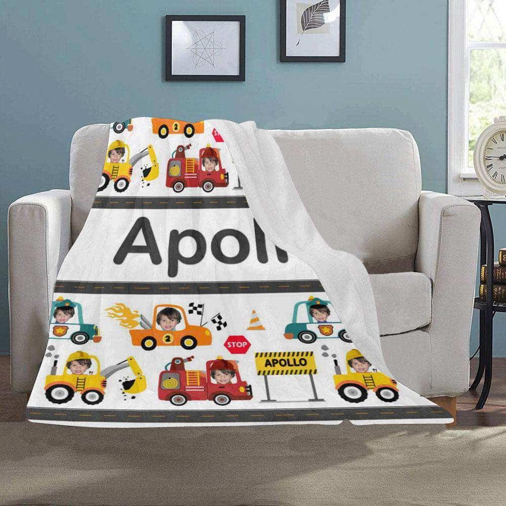 personalized blanket for boys cars trucks toddlers