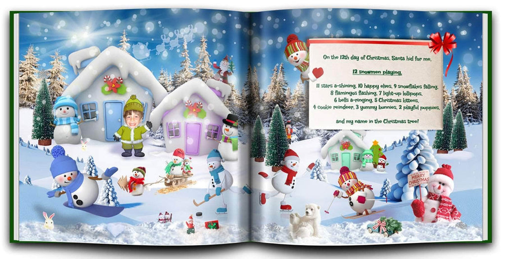 personalized christmas book with photo and name snowman