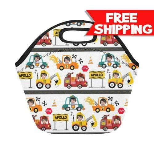 personalized boys lunch bag with trucks cars vehicles