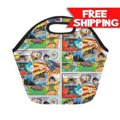 Personalized Lunch Bag - Superhero Comics lunch bag My Custom Kids Books