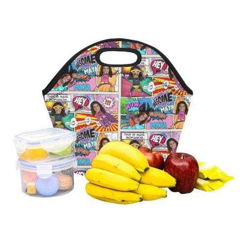 Personalized Lunch Bag - Pink Superhero Comic lunch bag My Custom Kids Books