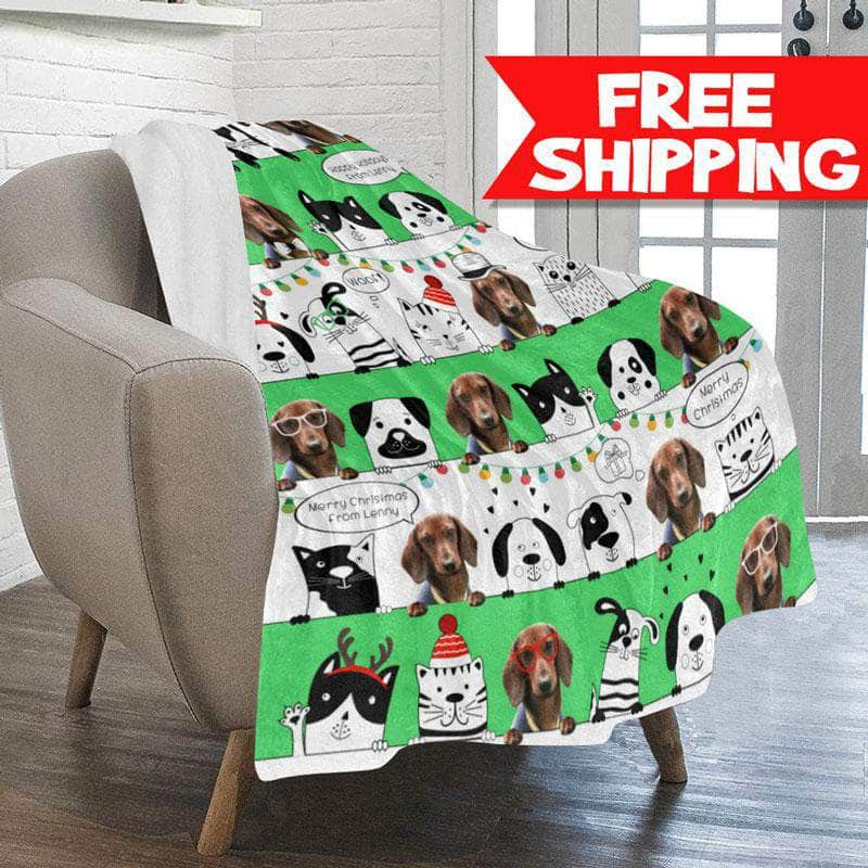 Personalized Christmas Blanket for Pets, Cats, or Dogs - 1-2 pets or photos