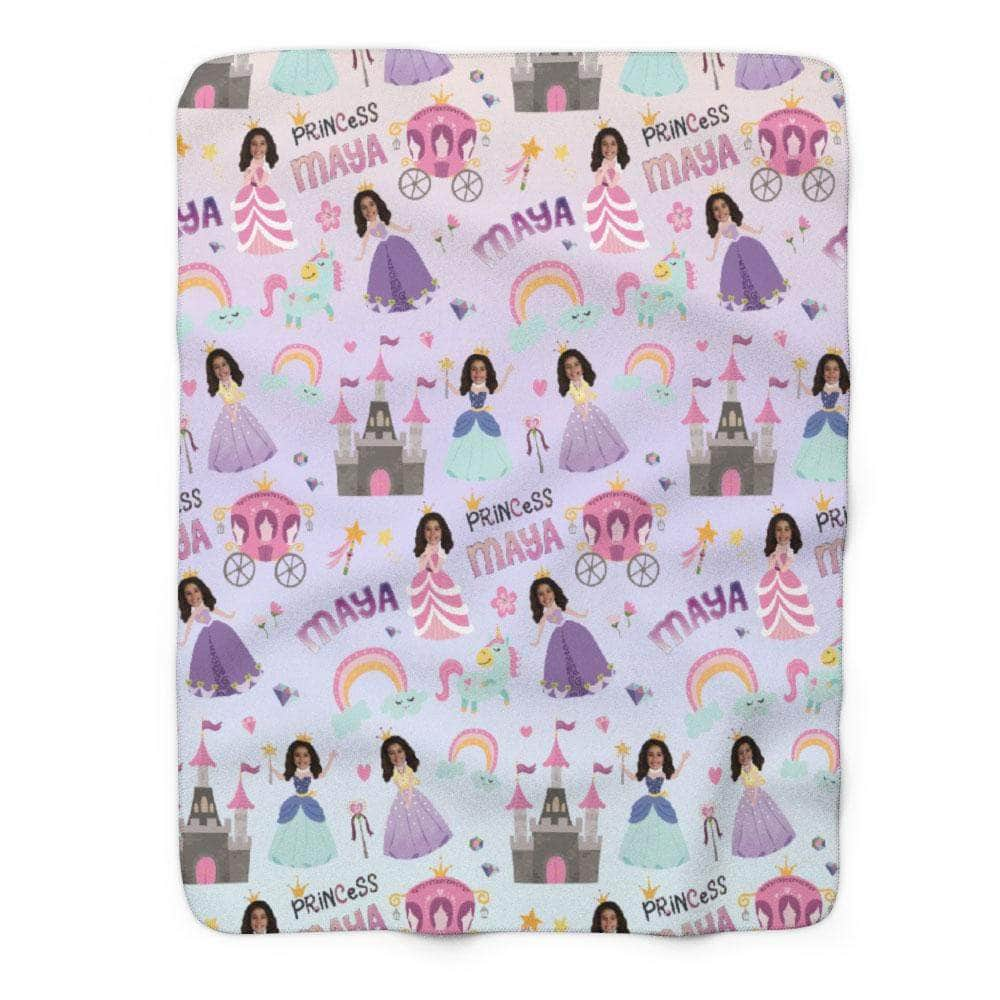 Personalized Princess Blanket for Girls with photo and name