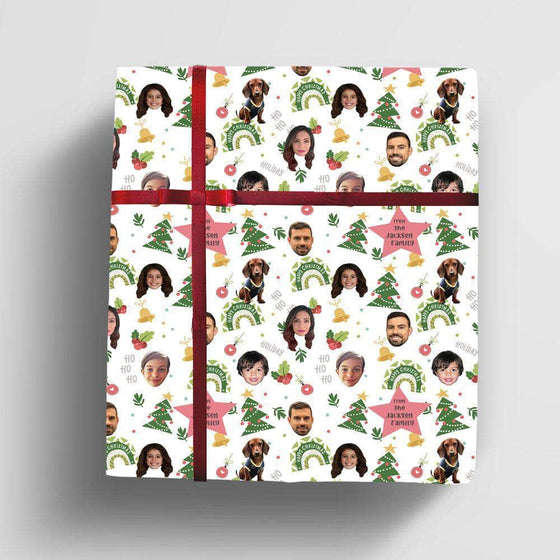 Custom Happy Christmas wrapping paper for child, pet or family