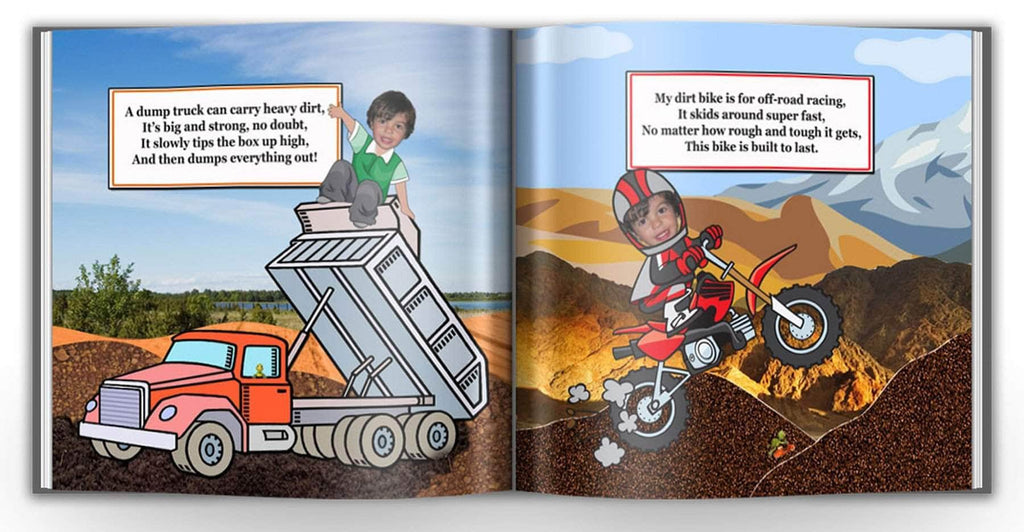 personalized story book for boys dump truck digger
