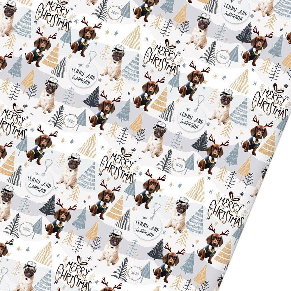 Personalized Christmas Wrapping Paper, with 1-5 photo and pets
