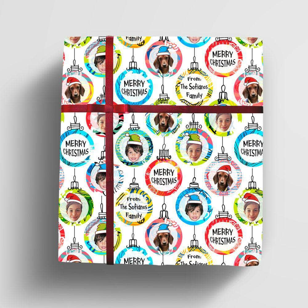 Personalized Christmas Ornaments Gift Wrap, with 1-6 photo faces