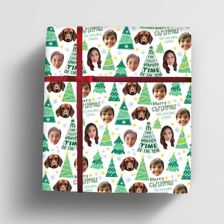 Personalized Christmas Wrapping Paper for whole family and pets