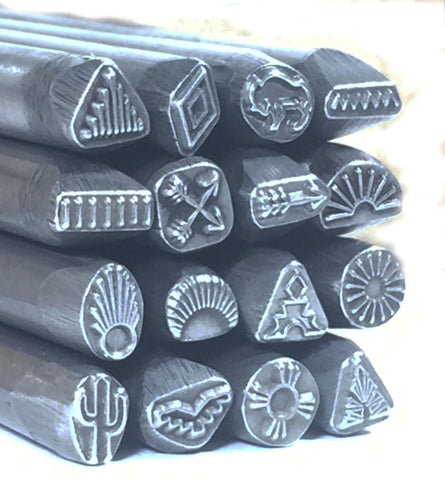 Native American, steel stamps set, tribal designs, 16 designs, smaller size, 1/4 tool shank, USA made - Romazone