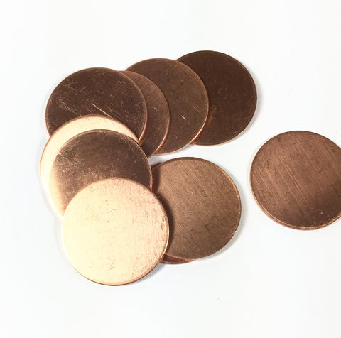 copper discs, 18 gauge 1 inch size, 10 pack, thick heavy blanks, mandala concho stamping - Romazone