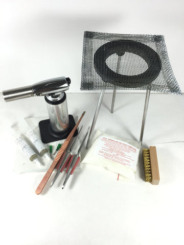 Soldering kit, Big butane torch, 10 piece, solder bangles, make rings, hot torch soldering - Romazone