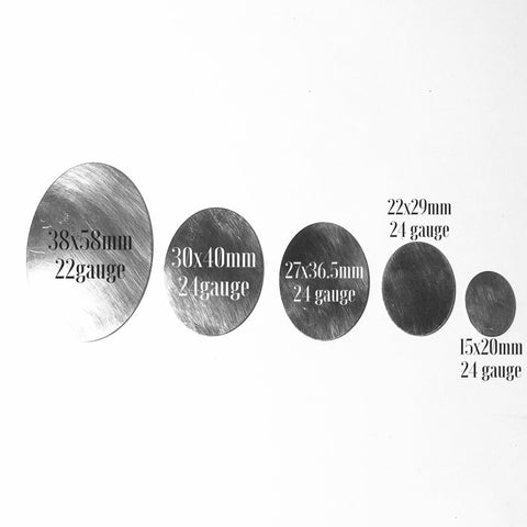 Oval blanks,, jewelry making, sterling silver, several sizes available - Romazone