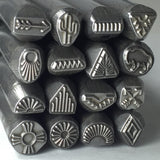 Native American, steel stamps set, tribal designs, 16 designs, 3/8 tool shank, USA made - Romazone