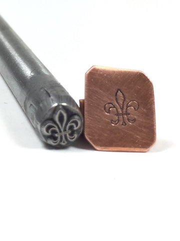 fleur-de-lis, design stamp, USA made, jewelry stamping, 5.5 mm x 4.5 mm - Romazone