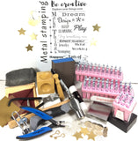 Jewelry stamp kit, Metal Stamping set up, casual hand written font 3 mm, easy to use tools - Romazone