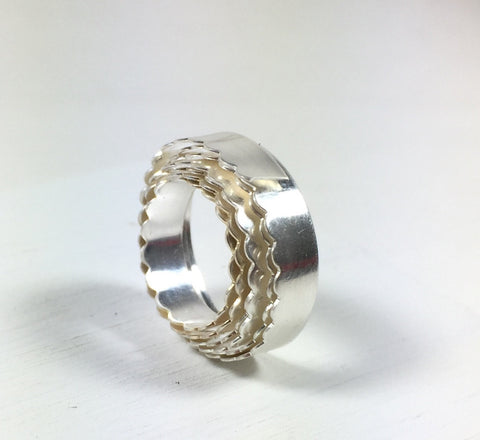 Scalloped Bezel Wire, 1 foot of  fine Silver,  3/16 x 26 gauge silver .999, For cabochon setting - Romazone