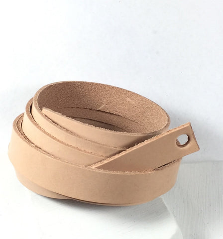 Wrap Bracelet Leather, natural leather, Strapping .5 inch, no color, 1 - 50 inch strip, 4 -5 oz leather - Romazone