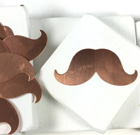 Mustache in Copper,  24 gauge, 10 pack, Hand stamping, USA made, 1/4x 1 inch - Romazone