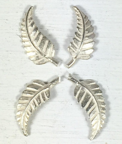 silver cast leaves, 14 mm x 7mm, right left, Southwest leaf, solder element, old pawn element, native style leaves, turquoise jewelry leaves - Romazone
