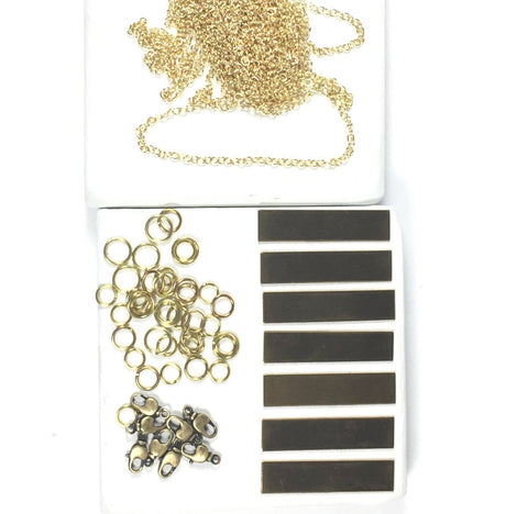 Gold Bar necklace kit, necklaces kit, bracelets kit, new gold jewelry kit, USA made chain, Quality components - Romazone