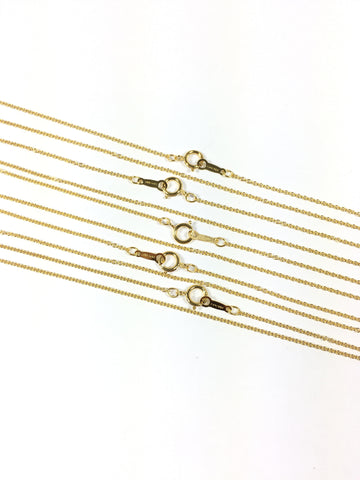 Gold filled 14k, minimalist chain, bridesmaid gift, Yellow gold, 1.1 mm fine cable, 18 inches, spring clasp, sturdy construction, 5 pack - Romazone