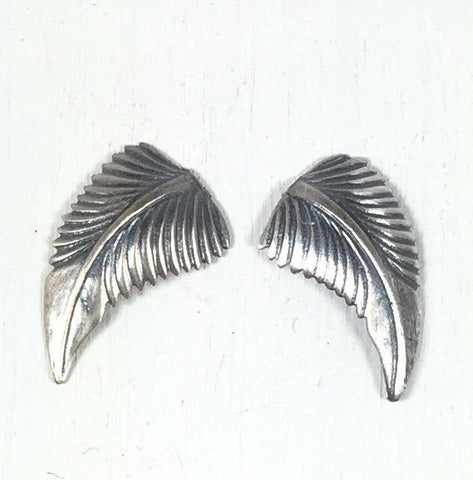 Sterling silver leaves, 21 mm x 12 mm, right left, silver cast leaves, old pawn element, native style leaves, turquoise jewelry leaves - Romazone