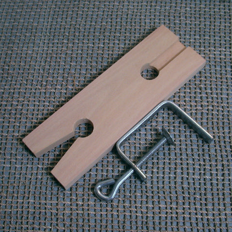 Wooden Bench pin, for sawing metal, work support surface, 2.5 x 7.5 inches, with clamp - Romazone
