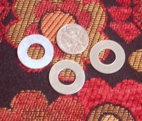 Sterling 22 ga .75 inch washers set of 3 for hand stamping - 19mm with a 5mm stampable area - Romazone