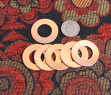 copper washers, 18 gauge 1 inch with 1/4 rim, 12 pack, thick heavy copper washer, rose metal - Romazone