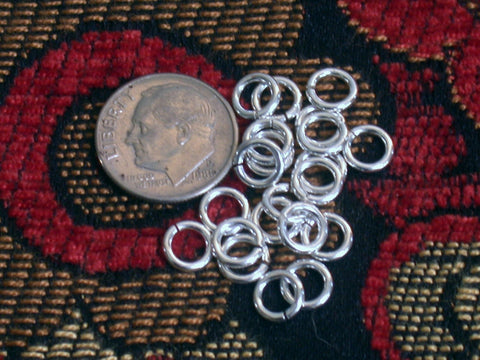 Sterling Silver Jump Rings,  6.5mm size, 100 pack, Highly Polished 17 gauge - Romazone