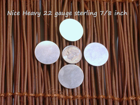 Round silver blanks, 22 gauge 7/8 inch, Sterling Disc set, metal stamping discs - Romazone