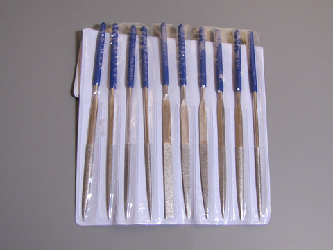 Diamond  File Set, 10 pieces, with dipped handles, 150 grit, file glass and stone - Romazone