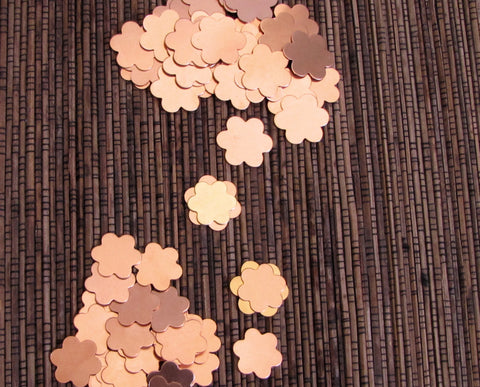 Copper Daisy flower blanks, 10 each 3/4 inch and 5/8 inch, 24 gauge, you get 20 flowers, perfect to rivet on leather or metal - Romazone