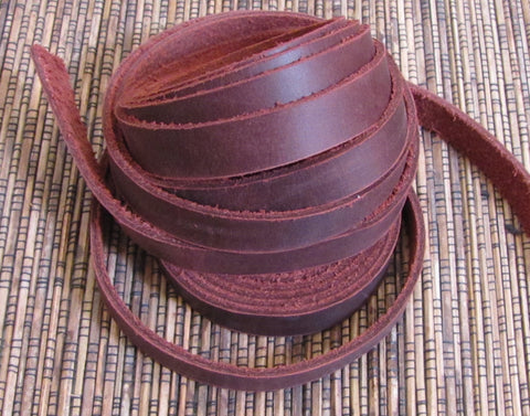 Wrap Bracelet Leather Strapping .5 inch Brown 6 60 inch strips 360 inches, steer hide, Soft supple - Romazone