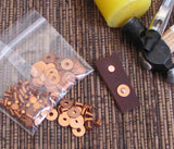 copper rivets, with washers, 200 pack, 3/32 x 3/16, leather fastening, metal connectors, ornamental elements - Romazone