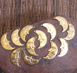 Moon Face, Brass moon Charms, Luna  moon, crescent moon, very detailed 1 x .50 inch man in the moon 6 R and 6 L - Romazone