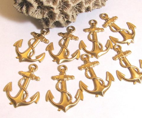 Anchor stamping, with hole, nice detail brass, 8 pack, nautical anchor, sailor boating, light weight, 1 3/8 x 1 inch - Romazone