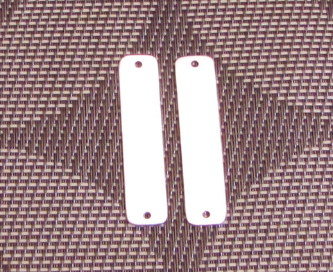 sterling silver ID tags, 2 pack, for leather work,, 20 gauge, 45 mm x 10 mm, 1/8 hole, 1 3/4 x 25/64 inches - Romazone