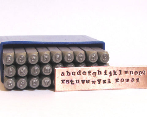 Typewriter Letters, 2 mm Lower Case,  steel letter set, old news print set, metal stamping, cambria type - Romazone