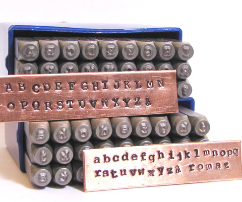 Letter stamps, Typewriter news print,  2mm font, upper and lower case, metal stamping - Romazone