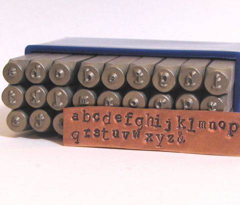 Steel letters stamps,Typewriter Font, low Case 3 mm, 2.75mm average size, Metal jewelry stamping - Romazone