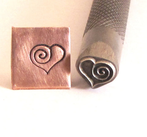 Heart Spiral, 8 mm x 7 mm,  knurled shank, for stainless steel, copper brass aluminum sterling - Romazone