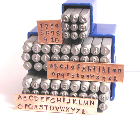 Hand Print letters, steel stamps, 3 mm size, upper and lower cases, numbers stamps - Romazone