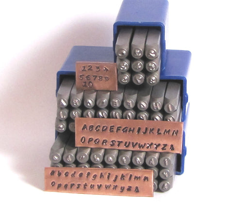 Hand Print font stamps, 2 mm upper lower cases, Steel letter numbers stamps, easy to use - Romazone