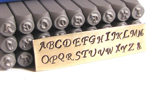 Mono type Script, letter stamps, 3mm size, metal stamping, upper case, Steel alphabet - Romazone