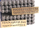 Script letter stamps, UPPER 3 mm, LOWER  2.75 mm, Metal stamping - Romazone